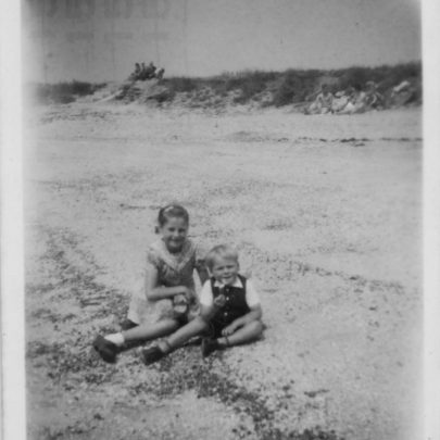 Canvey Beach c1952. Barbara and her brother | Barbara Everett