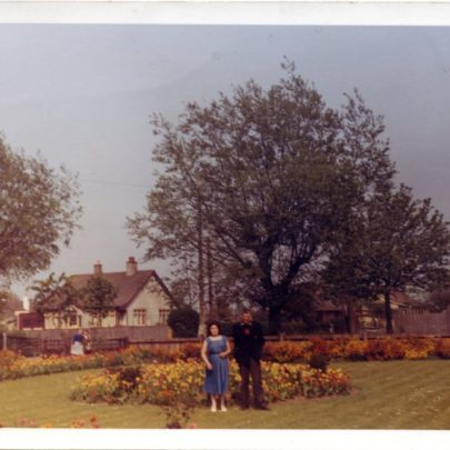 The front garden at 'Maisonwyck', looking out onto Furtherwick Rd when the property was owned by local developer Charlie Hollingberry in 1960. | B.Jessen