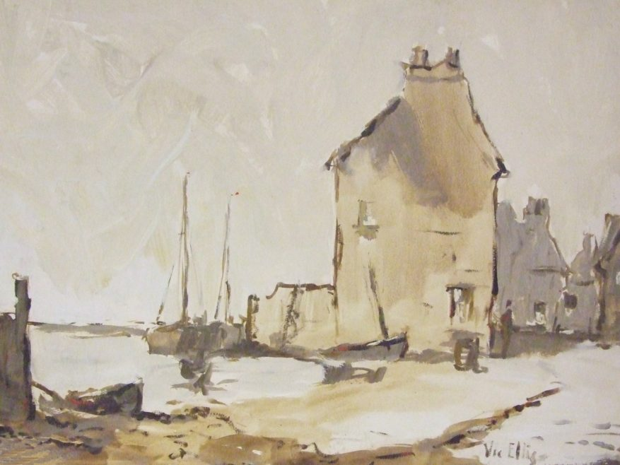 Oil painting on board, depicting a view of Old Leigh.   Vic Ellis