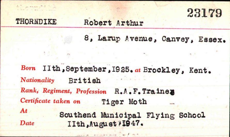 Bob Thorndike's Royal Aero Club Aviators' Certificate