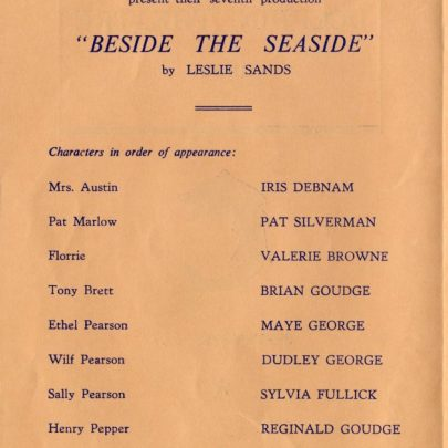 Programme from 'Beside the Seaside' | Dudley George