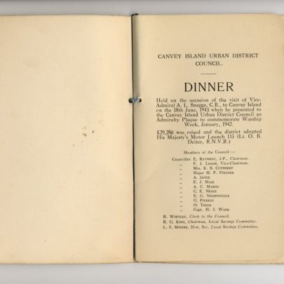 The menu from the Dinner at the Hotel Monico 18th June 1943 | H B Burchell