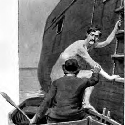 The writer trying to get aboard the Hulk pretended to have got into trouble whilst swiming in the estuary. Hughes the keeper of the 'Cuban Queen' came to the rescue. 'Ave yer got any iron concealed about yer person?' he asked the naked man