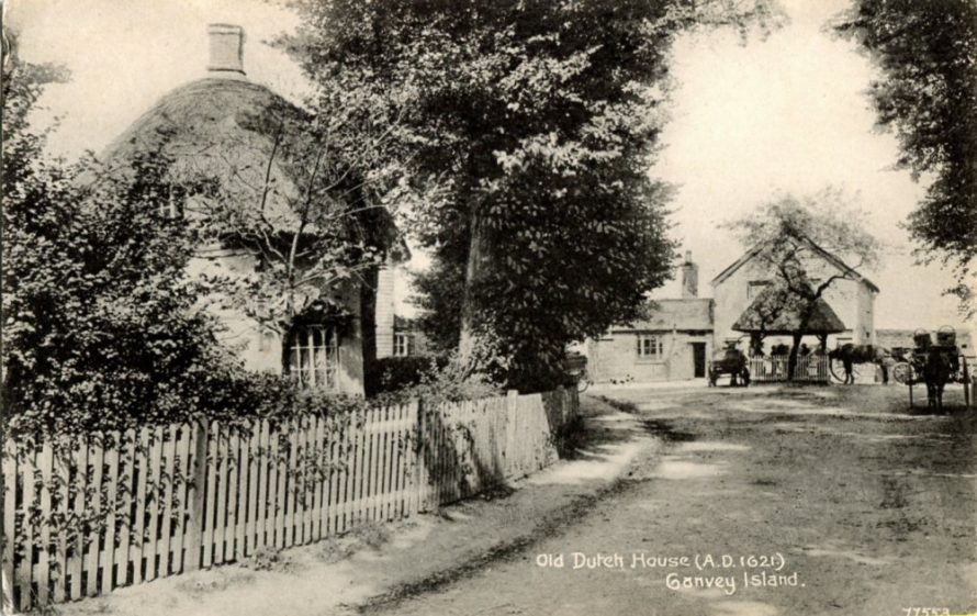 This picture shows the 1621 Dutch Cottage, the pump and the Red Cow PH