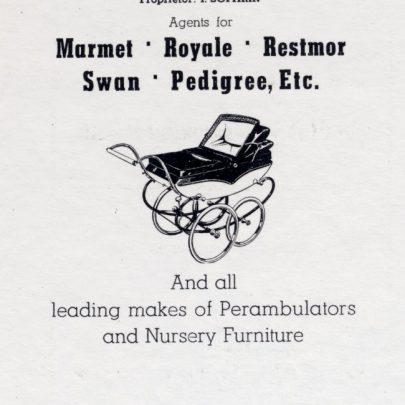An early advert for the pram shop