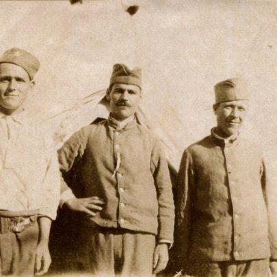On the back is written:36th General Hospital, Vertekop, Serbia. My three Serbs, George, Chedarum and Adam.