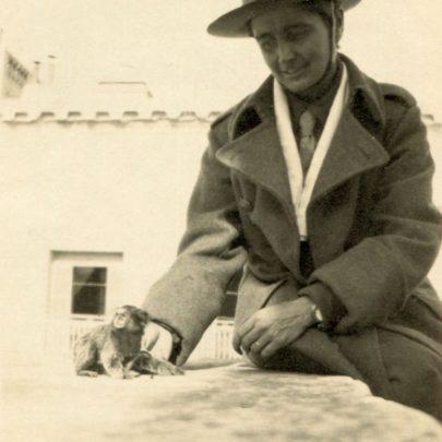 Miss Hamilton, the Scottish Women's Hospital with her marmoset