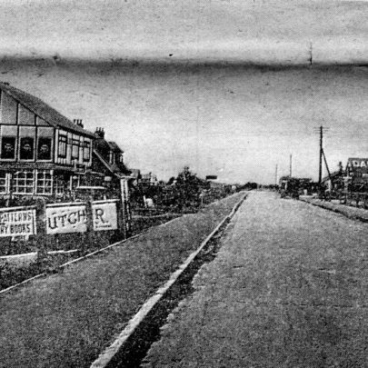 Another view of the old High Street at Leigh Beck. This was taken before the road was continued to the point and the bus terminal was opposite what is now the 'Admiral Jellicoe' pub. The new premises of Holmes Bros. are situated on the right of the picture
