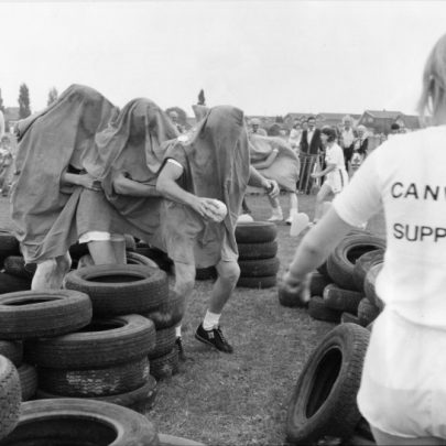 Game 1 - Caterpillar. Canvey Supply Co. team in Maze of Tyres. | Echo newspaper group and the Rayleigh Town Museum