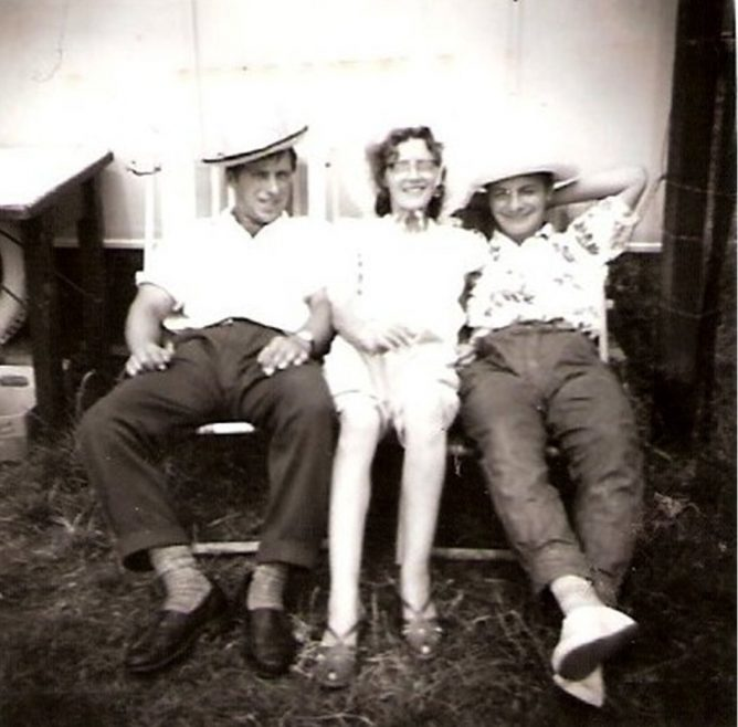 My brother on the left with Mum centre and myself outside my uncle's caravan around 59/60 sited at thorney bay camp, my uncle was good friends with Mr Fielder also with Mr Jones at the corner shop after he himself had moved on to the Island near retirement. | Peter Wonnacott