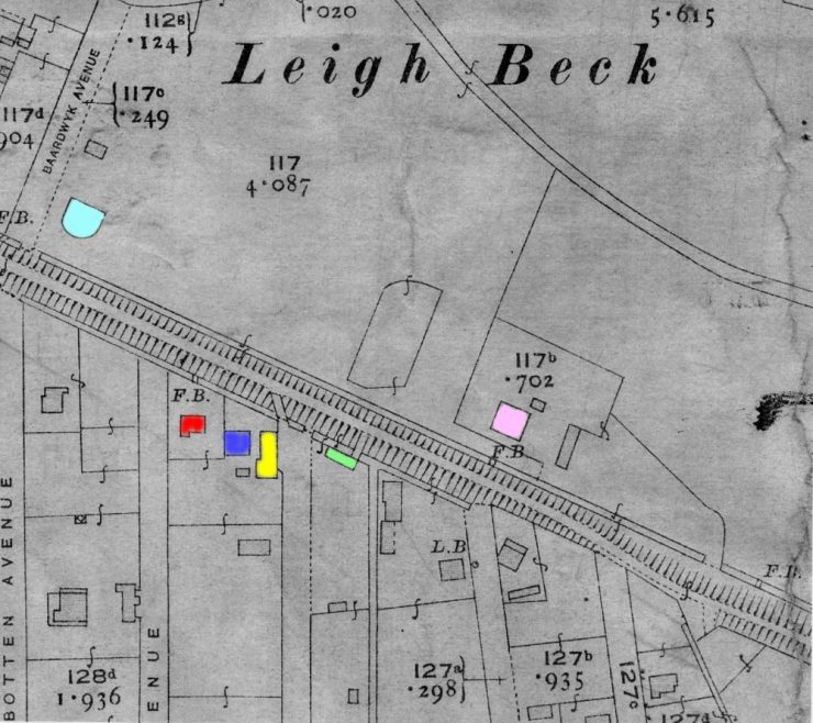 Map 1; Ordnance Survey c 1919. N. of High St, buildings marked light blue 'The Settlement', pink 'Wainwright's house.S.of High St: red 'Churchside', blue 'Kismet Cottage', yellow 'Garages', green Dunmow House' not marked Nickolds' Yard and Clements' Dairies.