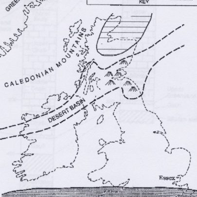 Geography of Britain during Devonian times (approximately 370 million years ago) Essex was part of a low lying  area between mountains and sea, occasionally being flooded as the coastline changed position. Sandstones and mudstones of Devonian age occur at depth beneath most of Essex. Britain at this time lay just south of the equator and the Atlantic Ocean did not exist | Illistration by Clive Walpole