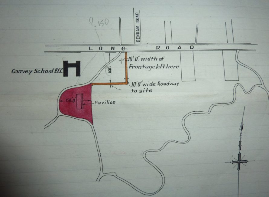 Map dated 1927 showing the location of the proposed Club House along with a 10 foot wide access road.