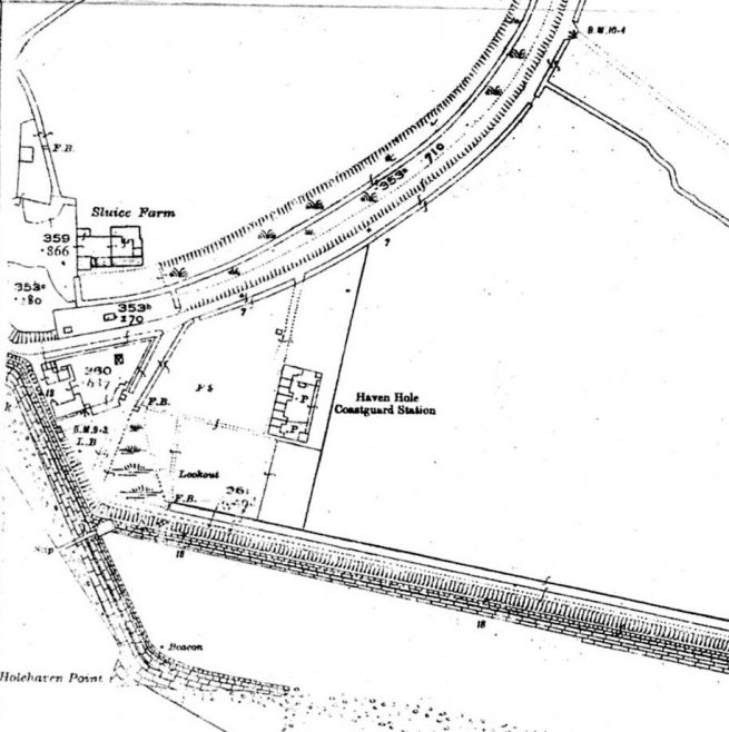 1928 map of the area showing the location of the Lobster Smack Inn, Sluice Farm and Coastguard Cottages