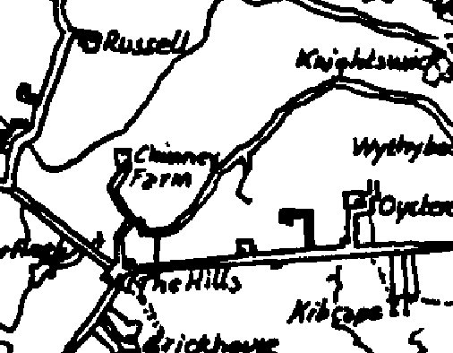 1850 Map showing the farm as Chimney's