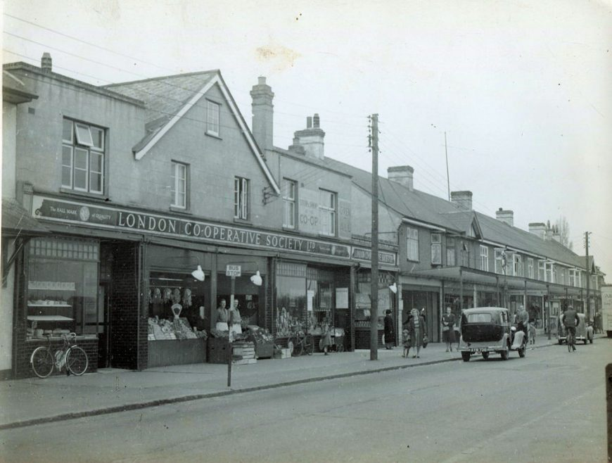 The Co-op and parade of shops Furtherwick Road. Date 1950s??