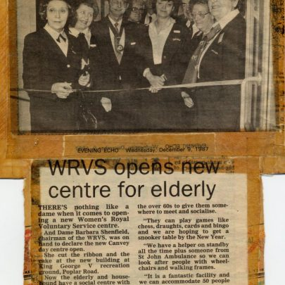 1987 newspaper cutting. Opening of the new hall. | WRVS