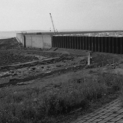 Thorney Bay when the work was still being carried out on the new wall