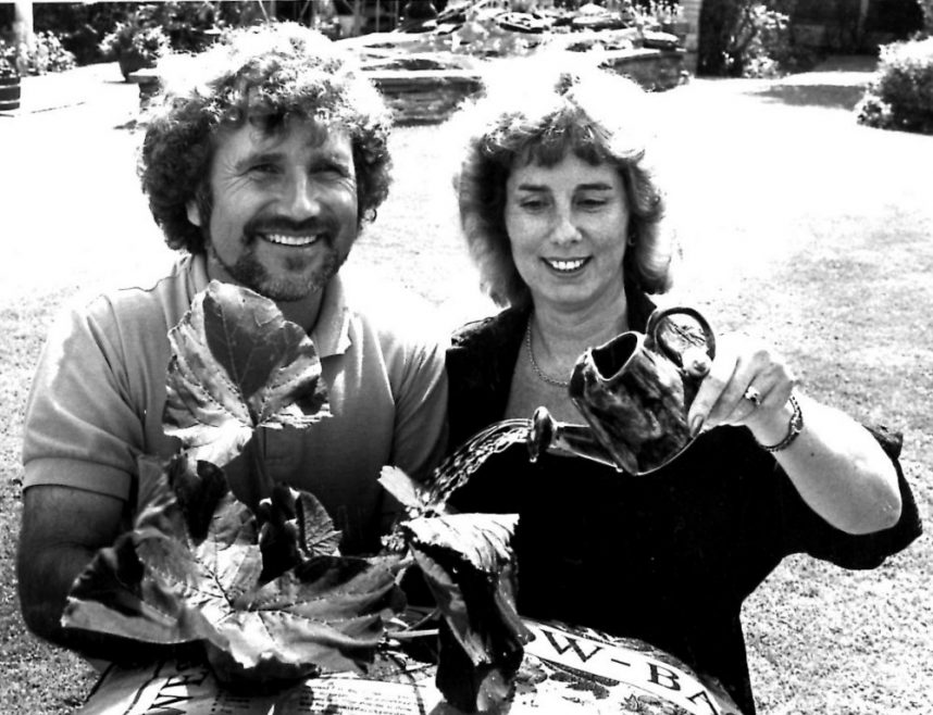 Dave Blackwell the Essex Gardener with Joan Hodge and her immature pumpkin. | Echo Newspaper Archive