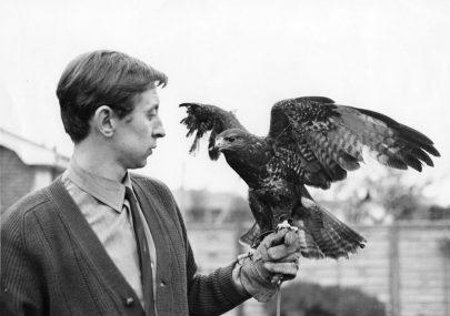 Derek Nash and his pet Buzzard Sheba