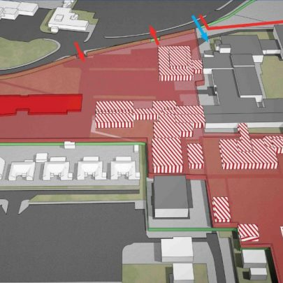 The blocked red is the new school and the stripped red the buildings that have already been demolished, the remainder is housing the last year of Furtherwick Park and the first year of Castle View schools.