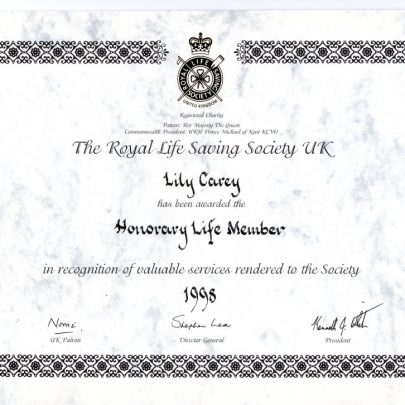 Lily's Honorary Life Membership Certificate | C.Carey