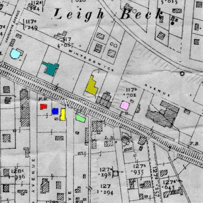 Map 2: Possibly the same map with additions and alterations made appx mid 1930s.N.of High St; Winterswyck Rd added also coloured turquoise 'Whittier Hall', yellow 'Reliance Bakery', etched 'Ebor House and shops plus 'Admiral Jellicoe'.S.of High St buildings added; left/h/side long etching 'The Market', right/h/side, 'Beales/Cuthberts'.