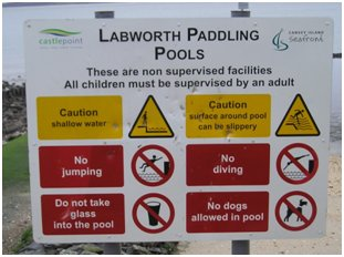 Safety Notices. Sign at the old pool which applies to both pools. | Colin Letchford