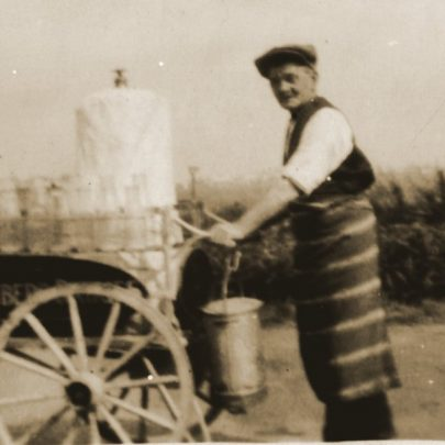 Geoge Chambers' maternal grandfather George Hoy on holiday from Ilford,dressed up as a Chambers' Dairies milkman. | G.Chambers