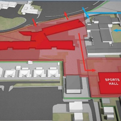 The block red shows the construction areas of the new school and sports hall. This is the phase we are currently in. The new school should be finished January 2012