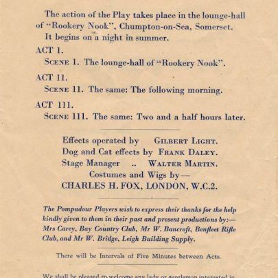Program from 'Rookery Nook' | Dudley George