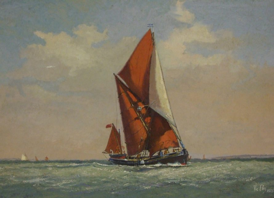 Oil on canvas by Vic Ellis depicting a Thames Sailing Barge at sea, signed lower right Vic Ellis 1973   Vic Ellis