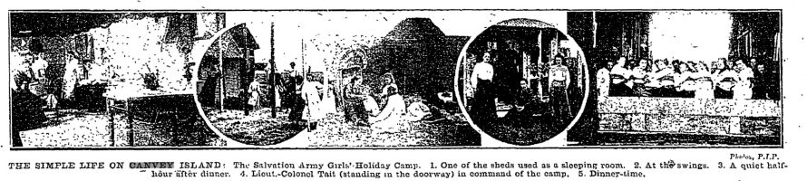 The simple life on Canvey Island: The Salvation Army Girls Holiday Camp. 1. One of the sheds used as a sleeping room. 2. At the swings. 3. A quiet halfhour after dinner. 4. Lieut. Colonel Tait (standing in the doorway) in command of the camp. 5. Dinnertime | The Penny Illustrated Paper and Illustrated Times