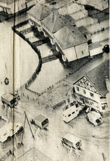 Canvey Island Evacuated: An aerial picture taken yesterday of the inundated island, as ambulances and lorries made continuous journeys to the mainland with hundreds of stranded and injured inhabitants. | Daily Telegraph and Morning Post Feb 3rd 1953