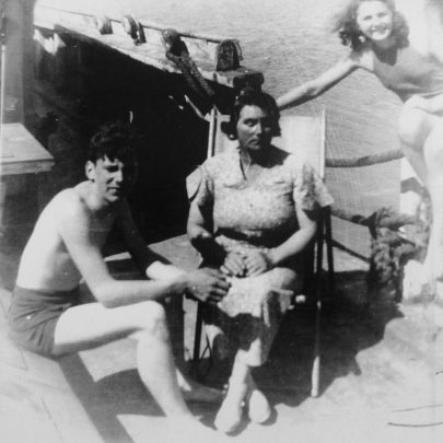 Guy's wife and children aboard the Annie Jones c1938 | The Bach Family