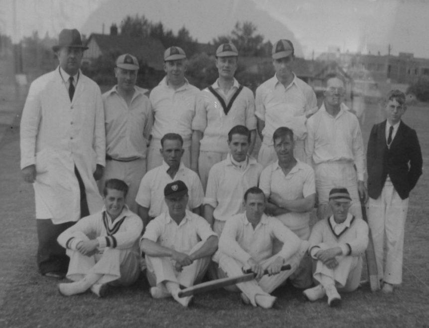 Canvey Island Tradesmen Cricket Club - 1937. (Back row) Umpire; S. Wright; S. Ewins; R. Ives; G. Greenaway; D. Mackay; L. Lock-Dingley (Scorer). (Middle Row) S. Hesketh; F. Darby; H. Manders. (Front Row) B. Crick; S. Tucker; G. Foley; W. E. Jones.