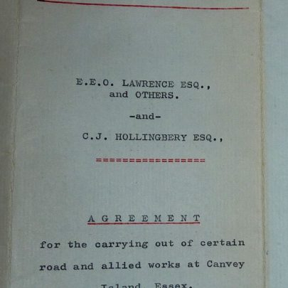 Agreement between E.E.Lawrence and Charles Hollingbery regarding roads on the Charfleets Industrial Estate