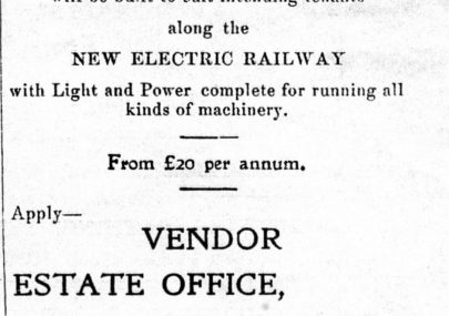 Advert for Factories by the Electric Railway