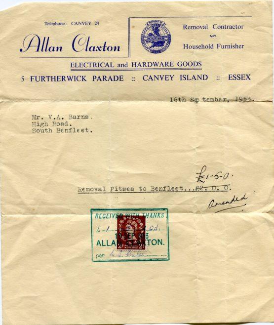 Claxton's Receipt 1953