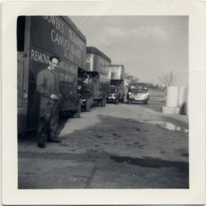 I had four vans by this time. Lined up at Marine Garage. | Bill Gower
