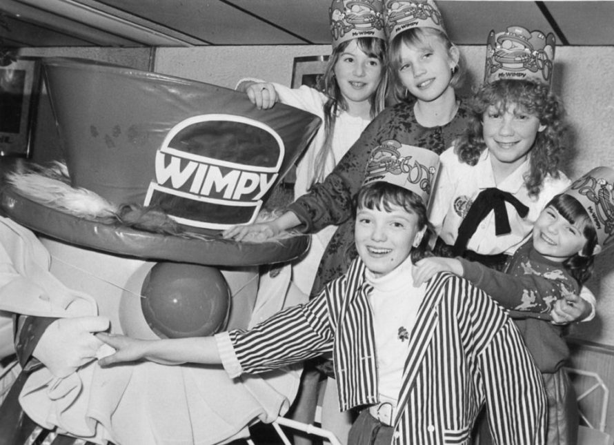 Back l-r Claire Peck, Kelly Maher, Laura Miller and Stacey Miller with Mr Wimpy and Martyne. | Echo Newspaper Archive