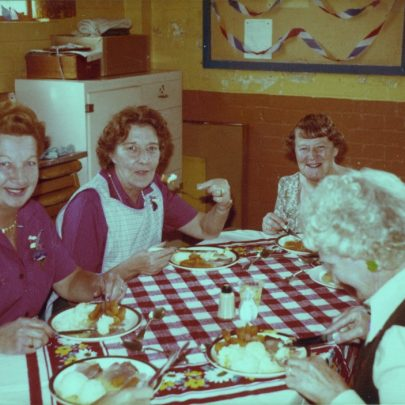 31st July 1981 at the Baptist Hall.Some of the WRVs at the Celebration lunch for Charles and Diana's Wedding. Joyce Lightfoot on the left and Joan Lock on the right | WRVS