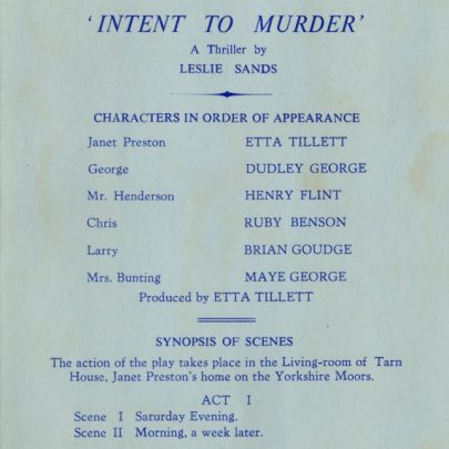 Programme from 'Intent to Murder' | Dudley George