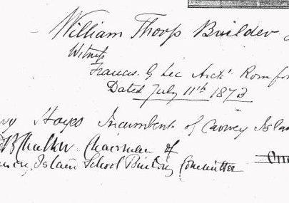 Henry Hayes signature 1873