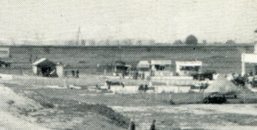 Enlargement showing the stalls where the welcome hut was situated where Labworth Park and the carpark now stand. The storage tanks are seen in the background