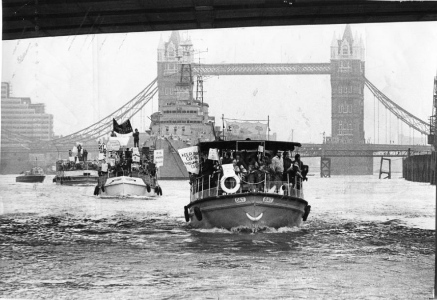 Here comes the Armada. The little ships of Canvey are packed with protestors as they sail under Tower Bridge. | Echo Newspaper Group