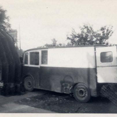 The 'Lee Car' van (Electric Power Wooden Bodywork) in the corner of the Old Bakery Yard next to Granpa Stevens Asbestos Garage | G Stevens