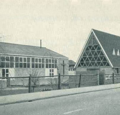 St Nicholas and the Church Hall clearly showing the West glass window before changes were made