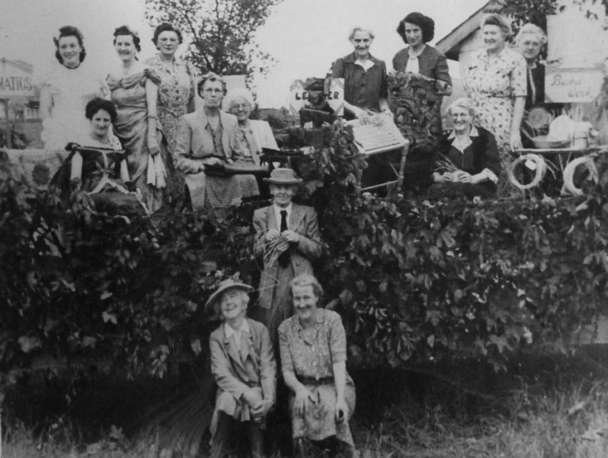 Miss James founder of the WI on Canvey and the members showing some of their masterpieces from dresses to basket-making | Jennifer Walker