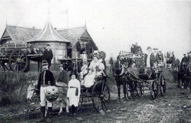 The procession passing the Swiss Bungalow